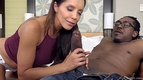 Big black cock oral sex with hungry clothed latina Francesca Le
