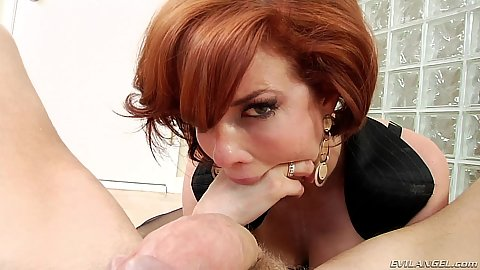 Veronica Avluv throat fucks herself with a finger and then puts dick in