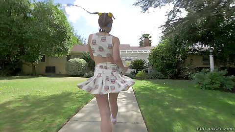 Happy go lucky Lilly Ford walking around outdoors with no panties under her skirt then fingered