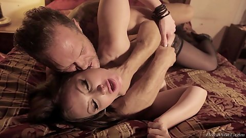 Pounding a conquered milf brunette on bed from the side Yasmin Scott