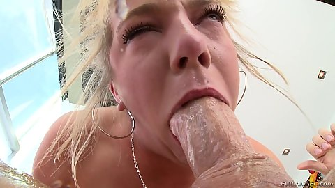 Saliva deep throat close up and anal cock fuck Tiffany Watson