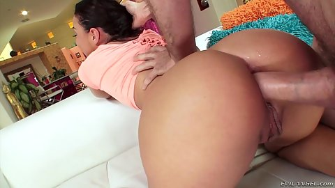 Lewd and wet bubble butt Amara Romani from behind sex