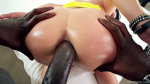 Doggy style perfecto anal penetration with massive black dick and petite latina chick Kristina Rose