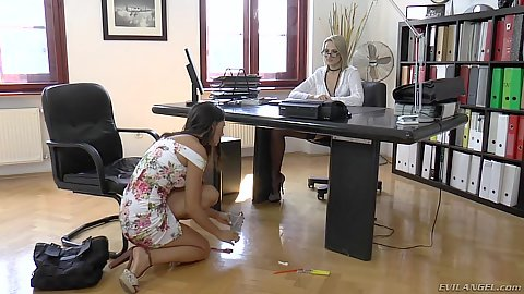 Office ilf and younger girl Viktoria Diamond and Alexa Tomas get nasty