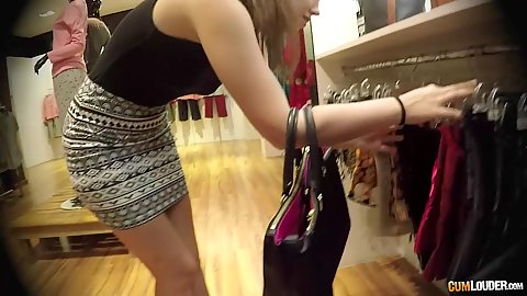 Miniskirt Zoe Doll going to check out some new lingerie in the store