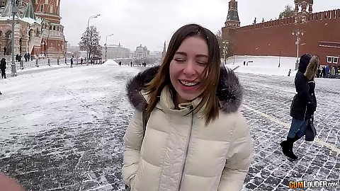 Outdoor Russian pick up on the red square with Ally Breelsen during winter