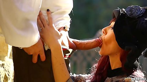 Dick blowing redhead Sofía Star in big candy spoof