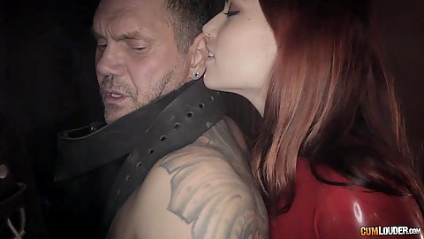 Redhead slave owner Susy Gala and Silvia Rubi use man for pleasure