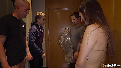 Brunette college girl Angie White taken naked on the hallway