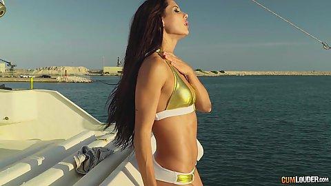 Solo girl in bikini Alexa Tomas looking great on private yacht