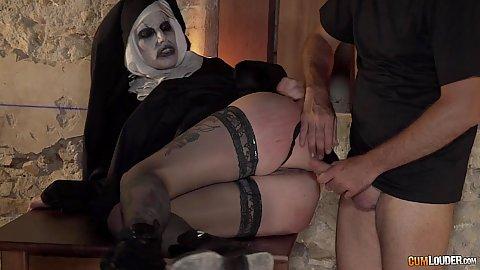 Zombie nun in parody sideways fucking on table Silvia Rubi