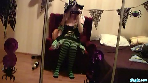Halloween amateur girl Nikki filming herself and masturbating