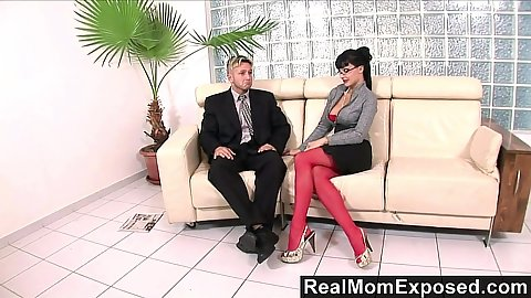 Nicely dressed mom Aletta Ocean gets naked to get fingered in her ass as a good secretary