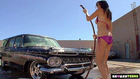 Vintage car wash with Skyla Shy getting all wet in her bikini