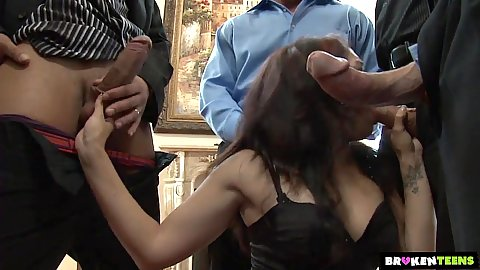 Group gang bang with Sheena Ryder  working and sucking dicks