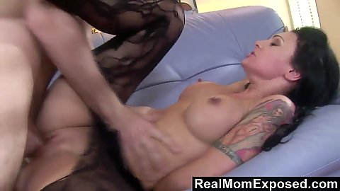 Busty brunette mom Victoria Sin milf in nylon open crotch pantyhose gets nailed