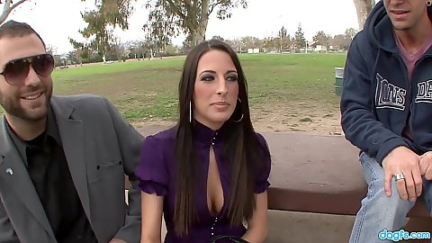 Brunette Kortney Kane  in public talks about cuckold while guy watches