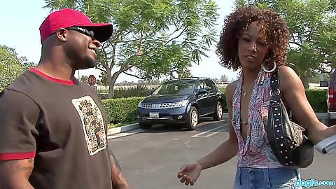 Ebony girls Misty Stone and Melrose Foxxx picked up right in the parking lot
