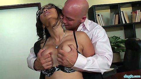 Groping office secretary Jessica Bangkok boobs and eating her on desk