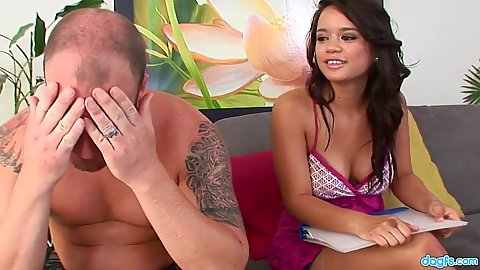 Cute looking college girl Bliss Lei all in clothes show snatch to guy