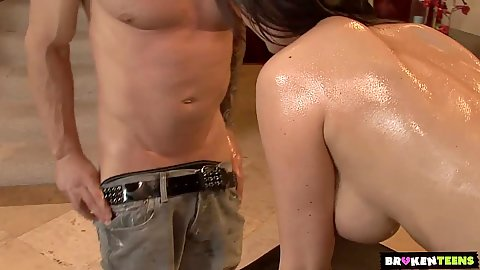 Oiled up busty milf Eva oral sex and fuck