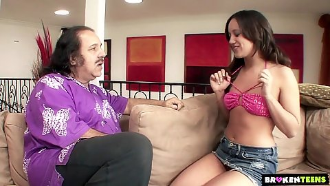 Miniskirt young girl Lynn Love wants the dick of old pervert Ron Jeremy
