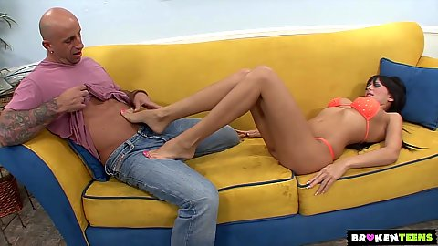 Feet loving and footjob with bras and panties Alison Star