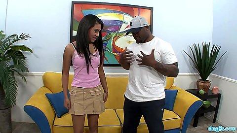 Petite black girl Rhianna Ryan in for hard cock sucking