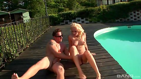 Fucked by the pool with anal and ass to mouth non stop Adele Sunshine