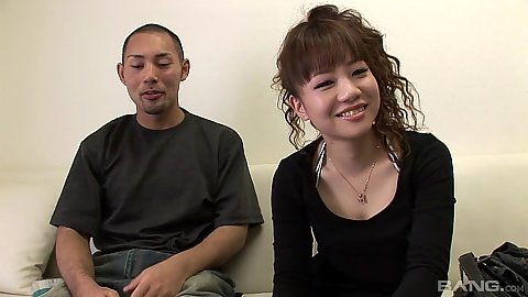 Slim college asian girl with her man in for a scene