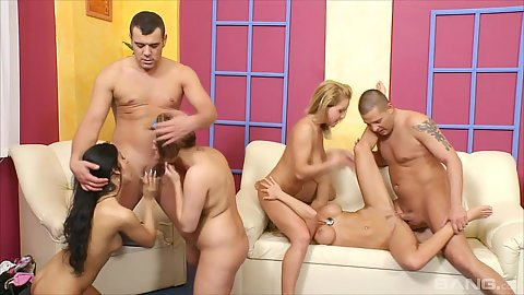 Sucking dick and frontal pussy ramming with lovely swingers females in orgy