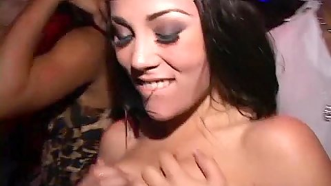 Hot babes shaking their bodies during a disco