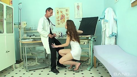 Sylvia is a stripper so she has to suck off her gynecologist to get the ok to get back to work