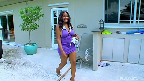 Luscious Sasha Royce bounces right in wearing a sexy dress