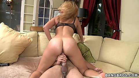 Chick is riding a cock cow girl style and moans