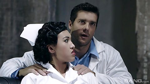 Fully clothed asian nurse Jayden Lee gets touched by doctor