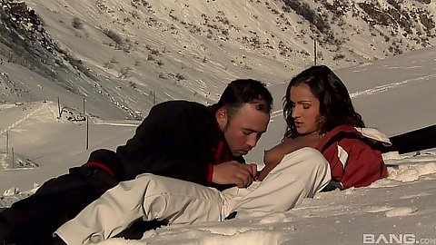 Winter time skiing and sex in the snow with Sunny Jay in story based porn