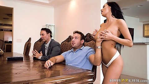 Groping natural tits brunette Sofi Ryan is the preachers wife