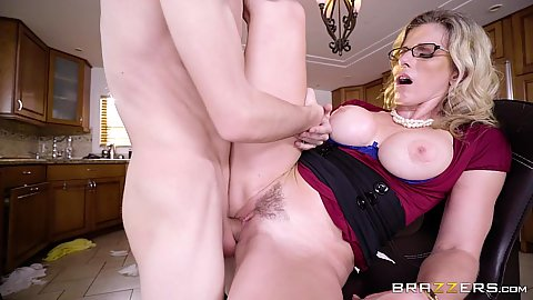 Frontal kitchen stool sex with half clothed and exposed tits milf mom Cory Chase