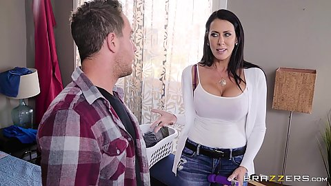 Lively mommy Reagan Foxx makes out and sucks some cock