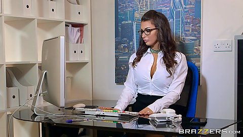 Raunchy latina babe Susy Gala fully dressed feeling the heat in the office