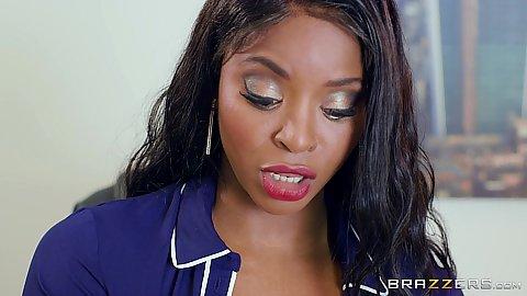Stunning ebony Jasmine Webb in office interview white cock black girl oral pov