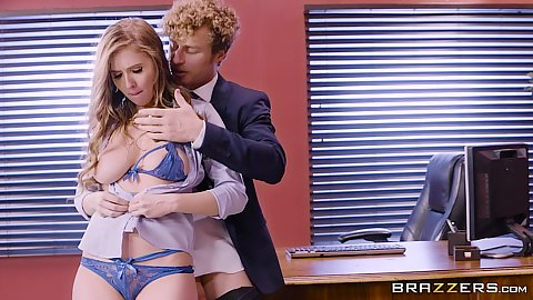 Angela White and Lena Paul get stripped naked for a quickie office fuck
