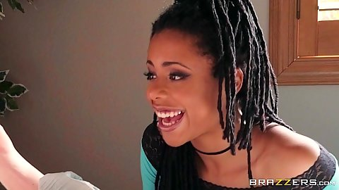 Incredible ebony babe Kira Noir performing oral