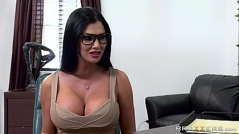 Big melons milf Jasmine Jae showing pro cleavage in office and sucking some shaft