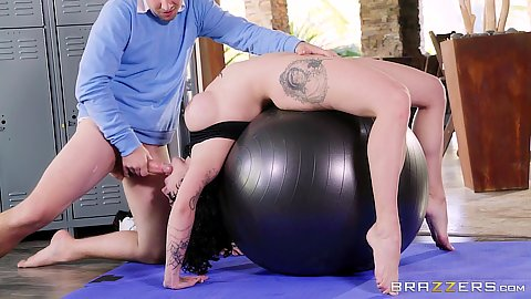 Exercise ball reverse blowjob in yoga practice Harlow Harrison