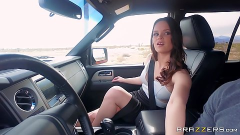 Brunette fully clothed Jenna J Ross not wearing panties under her skirt while in car