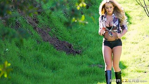 Corinna Blake running around the outdoors and sucking own finger