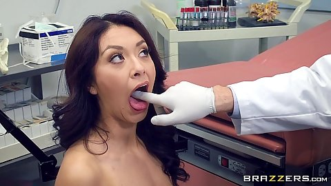 Kara Faux having her mouth fingered by doctor and then cock inserted for exam