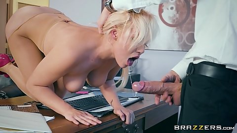 Blonde lovely office cock sucker Kylie Page is definitely not safe to be at work